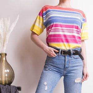 Vintage 80s striped pastel short sleeve T-shirt